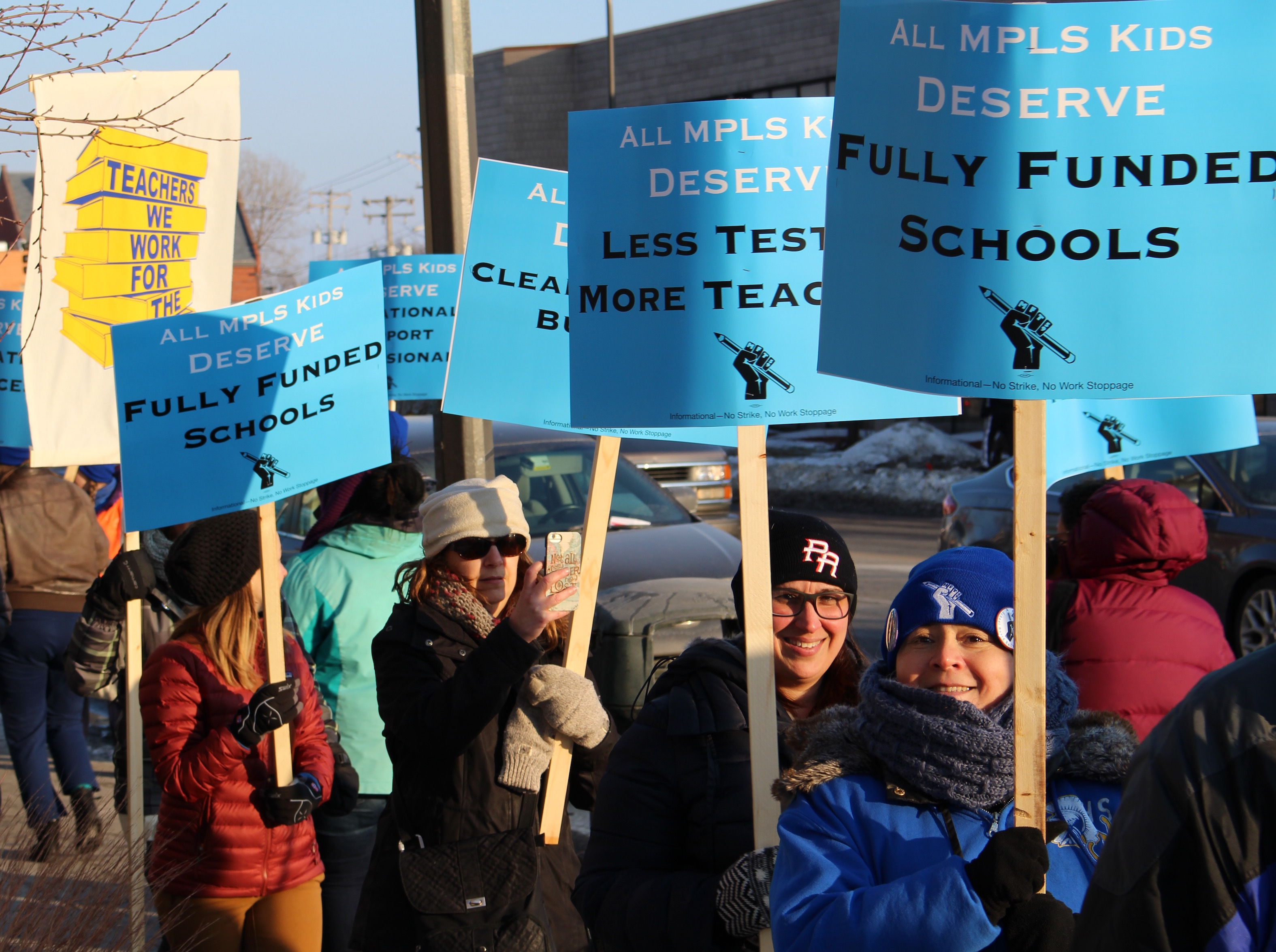 Hundreds of Minneapolis Public Schools teachers rallied outside of the district headquarters on Tuesday.