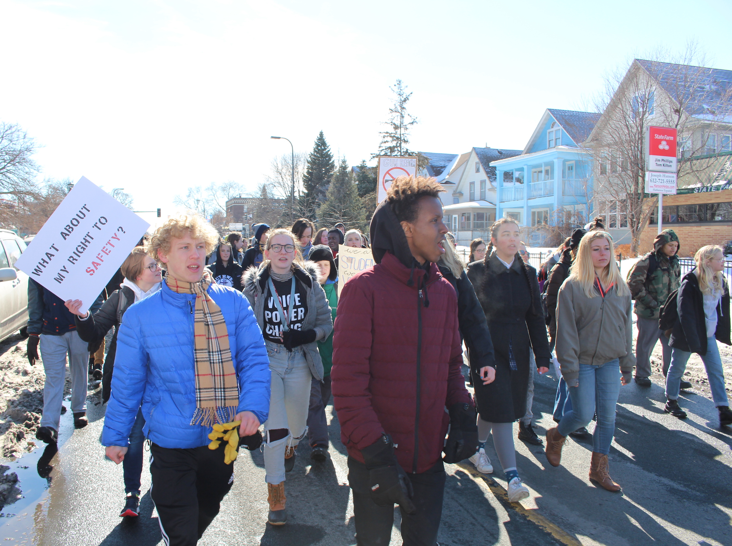 Dozens of Minneapolis students walked out of school on Wednesday to protest gun violence, after the recent mass shooting at a Florida high school.