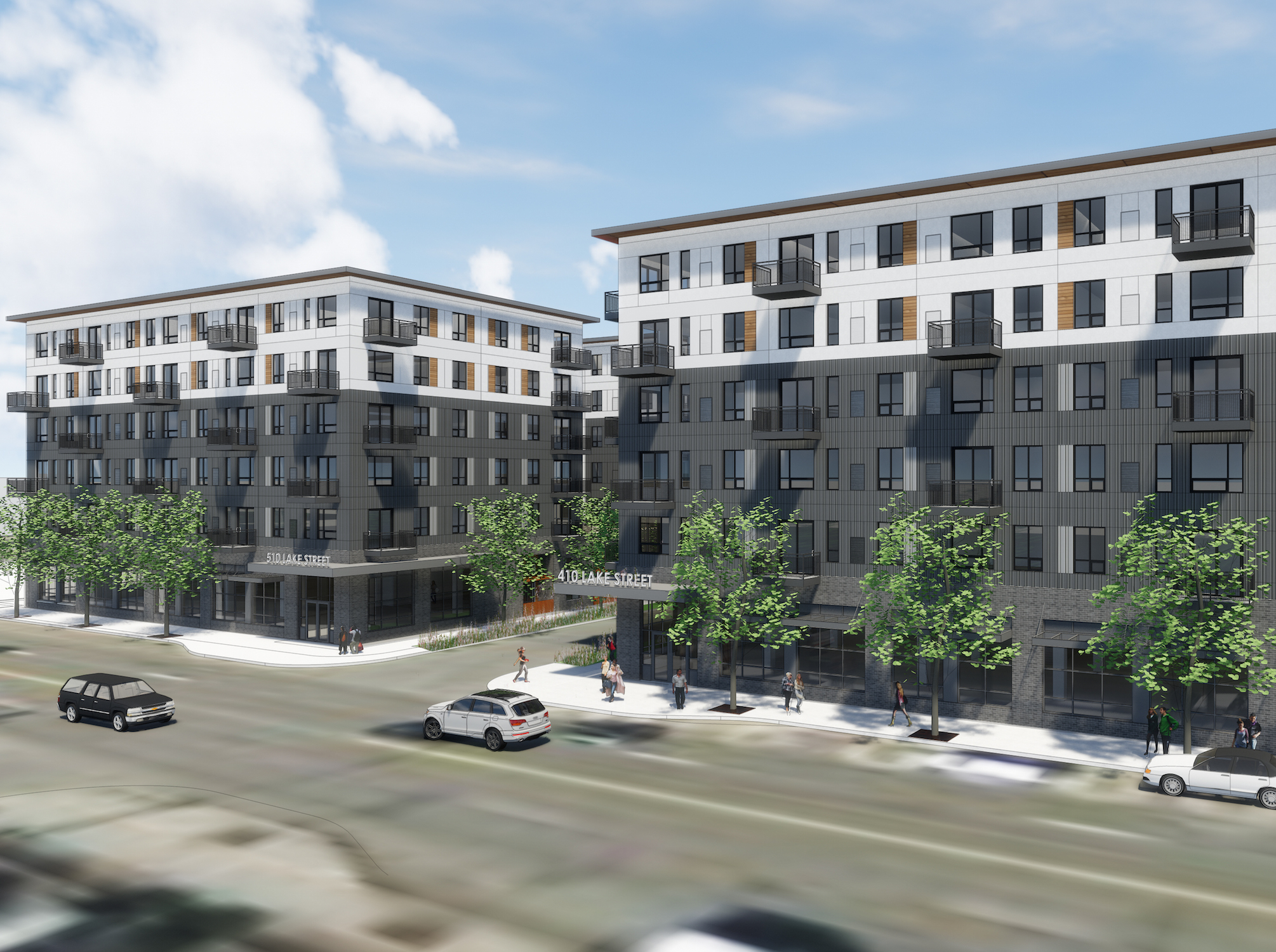 Lupe Development Partners has pitched plans for two six-story, 111-unit apartment buildings on Lake Street two blocks east of the Lake & Lyndale intersection. Rendering courtesy Lupe Development Partners