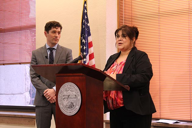 Mayor Jacob Frey nominated Nuria Rivera-Vandermyde for city coordinator. She currently serves as deputy city coordinator. Photo by Dylan Thomas