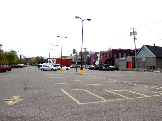 A view of the surface lot near Lake & Garfield.