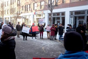 Advocates rally in support of a rent strike Jan. 31 in Whittier. Photo by Steel Brooks
