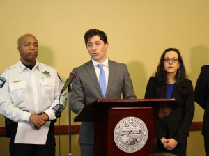 Minneapolis Mayor Jacob Frey talks about the city's updated body camera policy at a press conference on April 4.