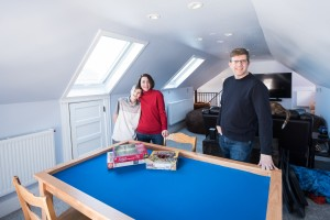 Bryce and Kelly Pier turned the unused attic of their Lyndale home into a hangout space for their two teenagers and added touches of their own, like a fiber optic star ceiling. Photos courtesy of the Minneapolis & Saint Paul Home Tour