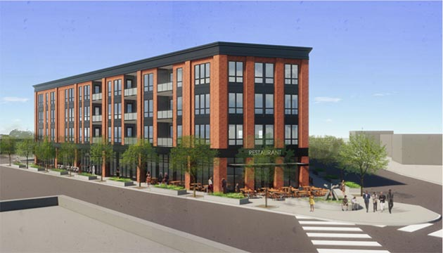 The mixed-use development proposed at the Edina Cleaners site would be four stories and include 52 apartments. Submitted image