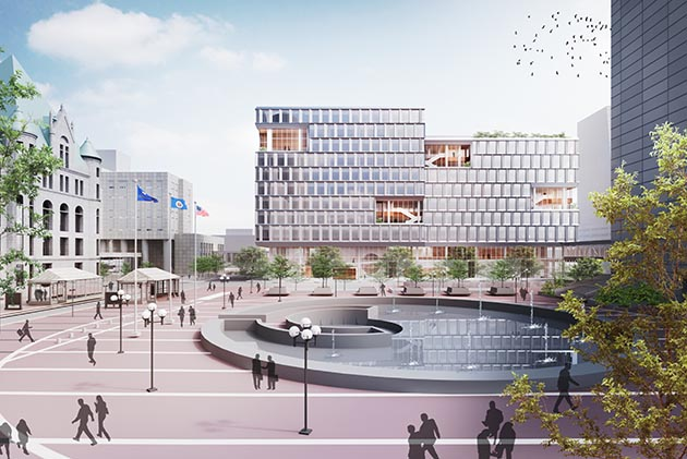 The city's consolidated office building is planned for a space kitty-corner from City Hall. Demolition of a parking ramp currently on the site could begin in June. Submitted image
