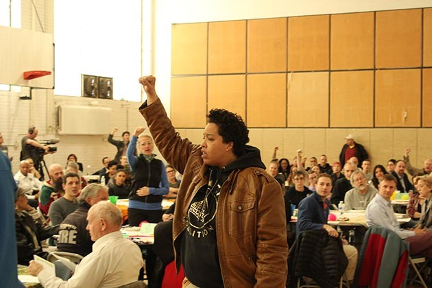 Chauntyll Allen was one of the activists who expressed impatience with the city at a forum on public safety held April 10 at Sabathani Community Center. Photo by Dylan Thomas