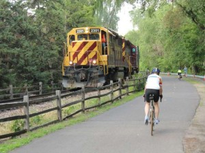 A freight train makes its way down the Kenilworth Corridor in Minneapolis. File photo