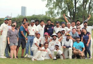 Cricket players at Bryn Mawr Meadows in 2017. Photo courtesy of MCA