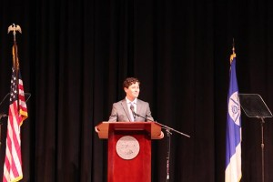 Mayor Jacob Frey delivered his first State of the City address May 24 at the Lundstrum Center for Performing Arts. Photo by Dylan Thomas