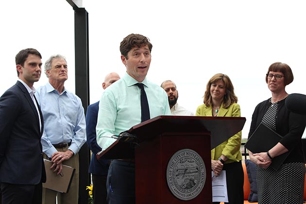 Mayor Jacob Frey announced a four-point affordable housing plan May 14 at Blue Line Flats in the Corcoran neighborhood. Photo by Dylan Thomas