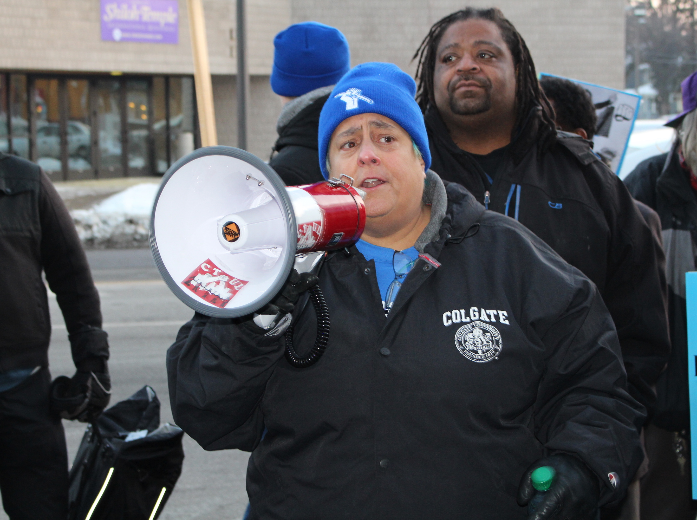 Minneapolis Federation of Teachers President Michelle Wiese speaks during a union rally outside the Minneapolis Public Schools headquarters in February.