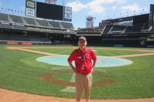 "Bob Lundegaard at Target Field: ""I've kind of fallen in love with the place."" Photo by Jim Walsh"