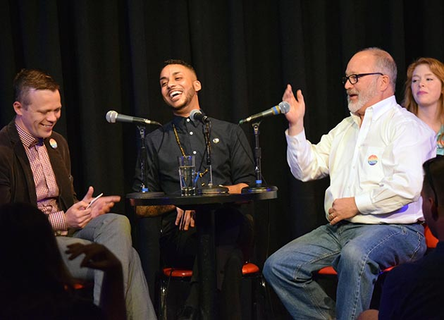 Tane Danger, left, hosting The Theater of Public Policy with guests Phillipe Cunningham and Charlie Rounds. Submitted image