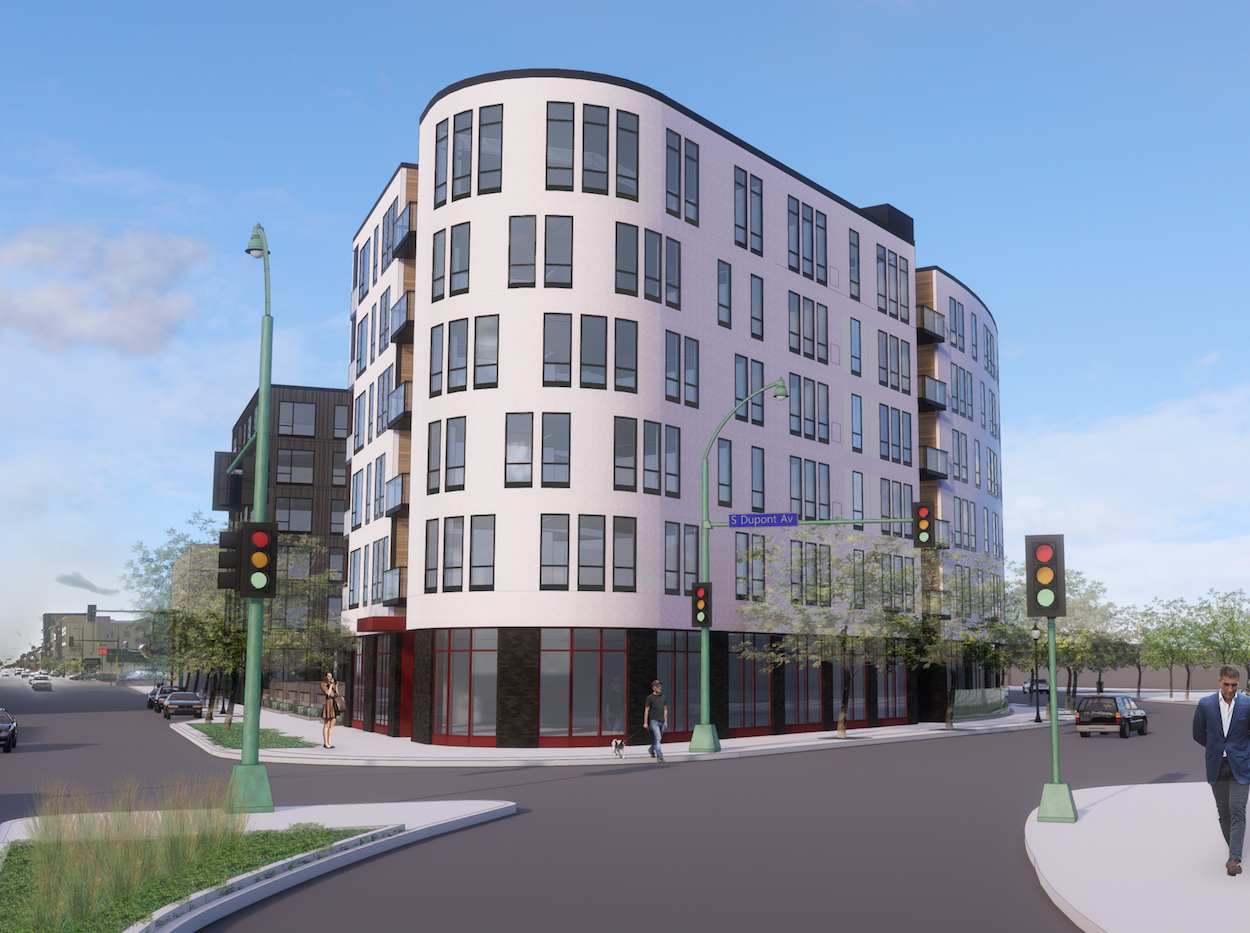 Reuter Walton is planning a six-story, 174-unit apartment building for the site of the former Arby's building in Uptown. Rendering courtesy Reuter Walton Development