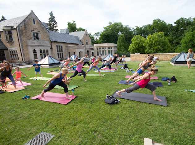 Modo Yoga is hosting free, family-friendly outdoor yoga at the Bakken Museum all summer on Thursdays from 5 p.m.-6 p.m. Photo courtesy Phil Doucette