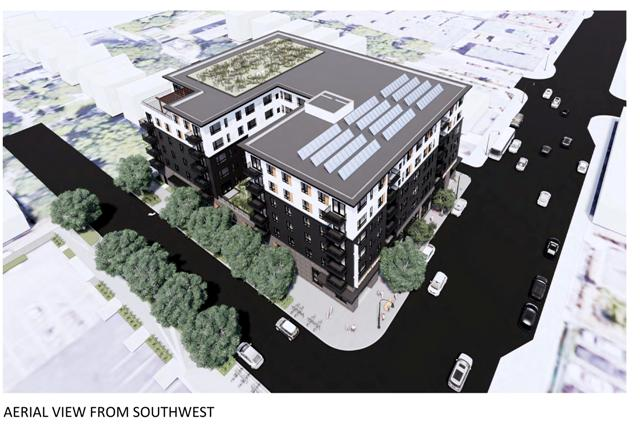 Lupe Development Partners expects to start construction on a 111-unit apartment building in the Lyn-Lake area this spring. Rending courtesy Lupe Development Partners