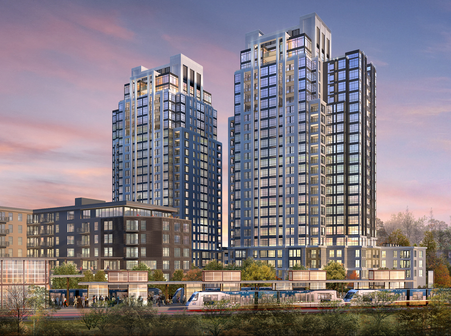 The Calhoun Towers project will include four new buildings with 744 new apartment units adjacent to the future Southwest Light Rail station in the West Calhoun neighborhood. Rendering courtesy ESG for Bader Development