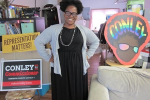 """Hennepin County commissioner candidate Angela Conley in her campaign office: """"I want to challenge the status quo."""" Photo by Jim Walsh"""