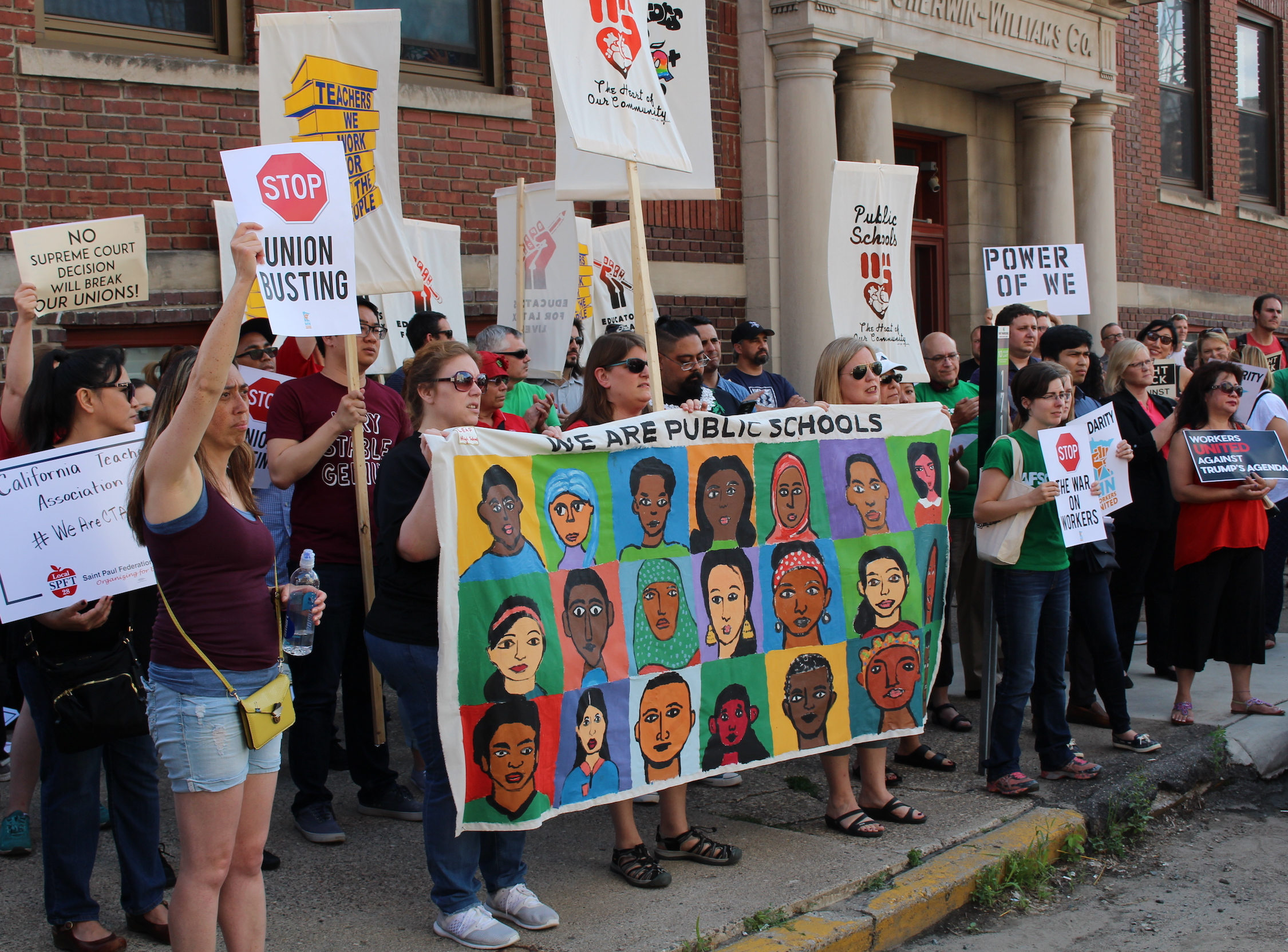 Members of local unions rallied in the Warehouse District on June 27 to protest a U.S. Supreme Court ruling that bans public unions from collecting agency fees from non-members.