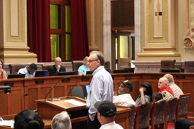 City Council Member Cam Gordon (Ward 2) presented his proposed charter amendment to a joint committee meeting Aug. 1. If approved by voters, it would reorganize control of the Minneapolis Police Department. Photo by Dylan Thomas
