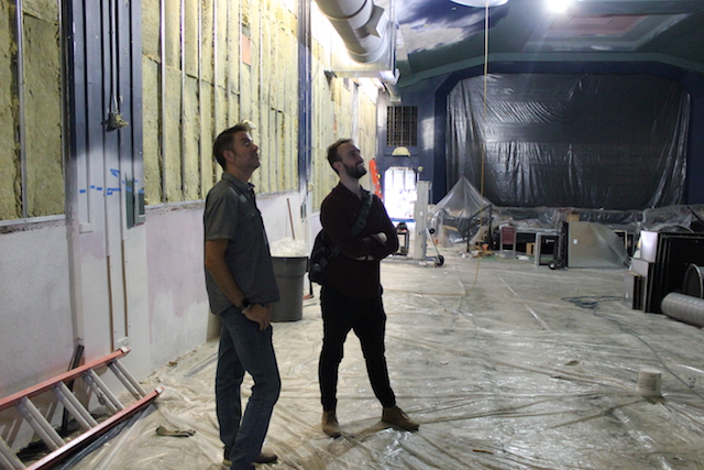 Investor Ward Johnson (l) and Booking, Marketing and Events Manager Patrick Marschke view renovations underway at the Parkway Theater.