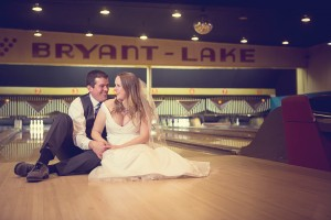 Robb and Zea Asklof's engagement photo at Bryant Lake Bowl. Photo by Lauren B. Photography
