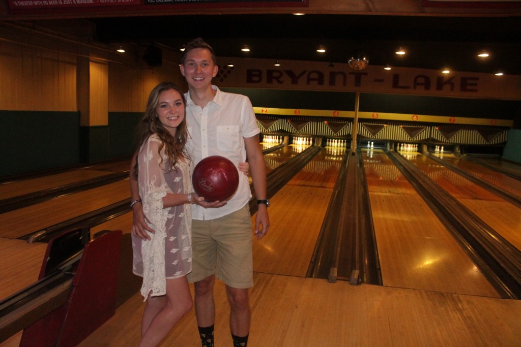 Samantha Harmston and Matt Hillard, who have been dating for a year and a half, play a game at Bryant-Lake Bowl. Photo by Austen Macalus