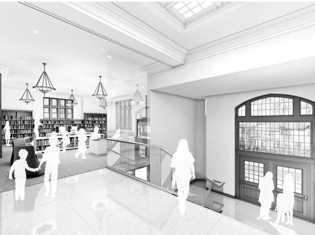 Rendering of main entrance and children's area by Leo A Daly, courtesy of Hennepin County Library