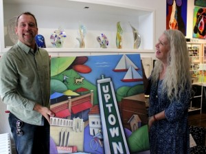 The Upton Art Fair in Linden Hills is Saturday, Sept. 15. Pictured are artist Brian Jensen and Suzie Marty, owner of the gallery Everett & Charlie.