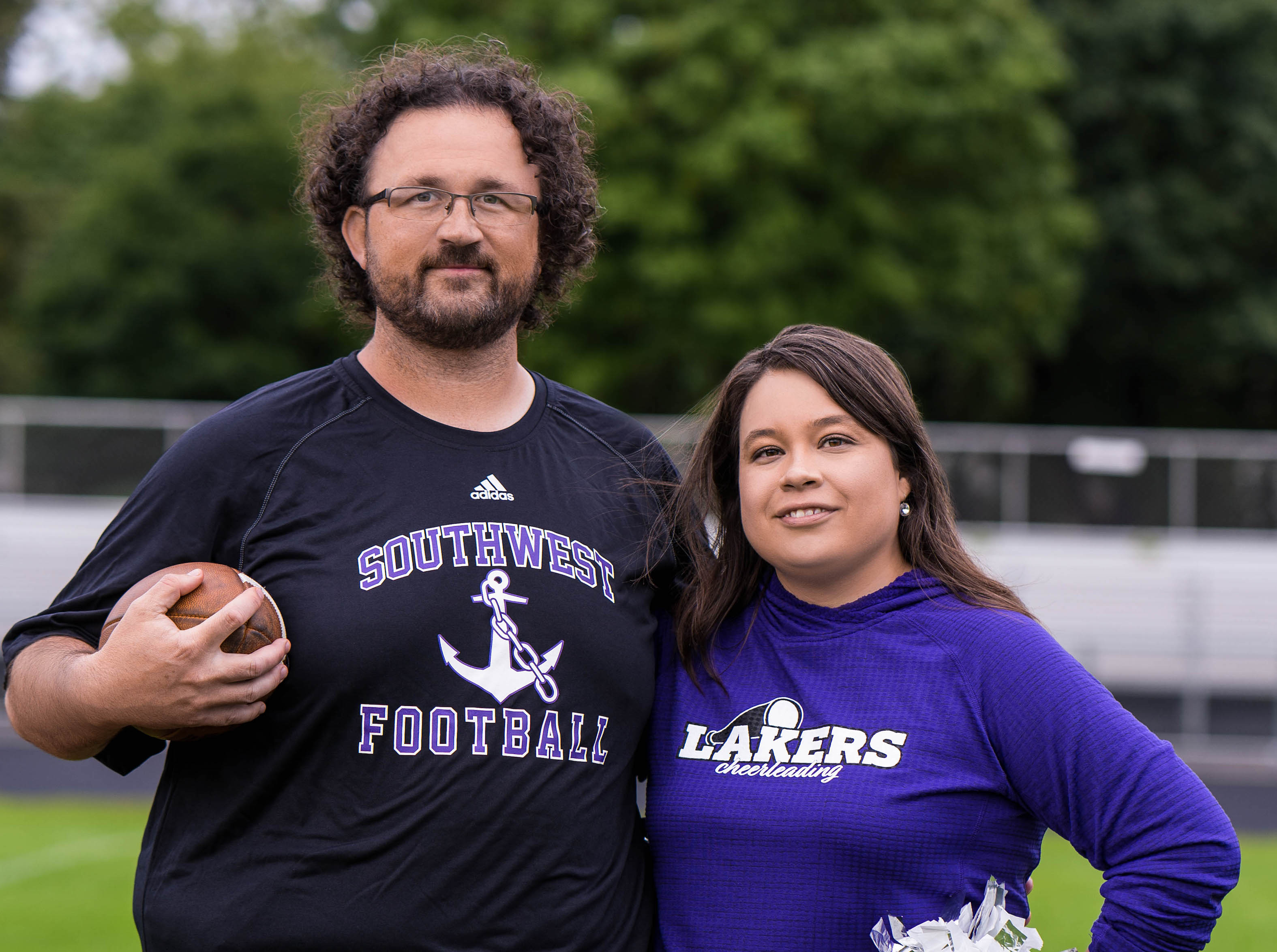Josh and Stephanie Zoucha coach the Southwest High School football and cheer teams, respectively. Submitted photo