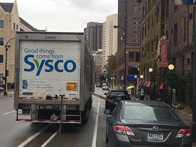A Sysco semi-truck parked in the bicycle lane on 12th Street in downtown Minneapolis. Photo by Dylan Thomas