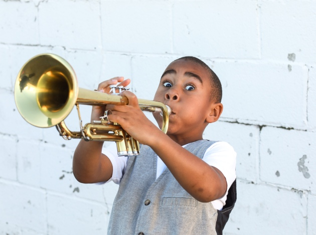 "Messiah Moses Albert plays a young Louis Armstrong in ""Hot Funky Butt Jazz."" Photo courtesy of Interact Center"
