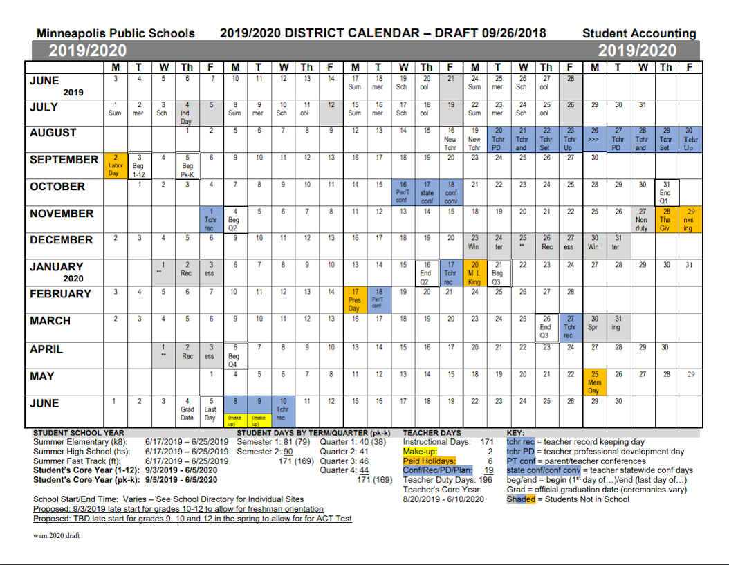 minneapolis public schools proposed calendar for the 2019 20 school year