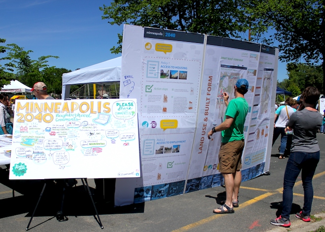 Comments on Minneapolis 2040, an update to the city's comprehensive plan, were collected at community events, including the Linden Hills Festival. File photo
