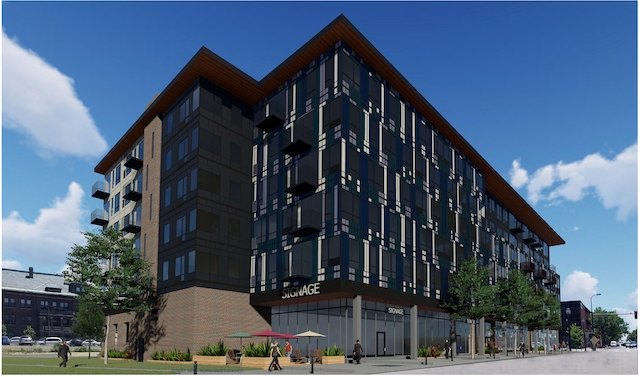 Northwest corner street view at 1713-1735 Nicollet Ave. Rendering by DJR Architecture