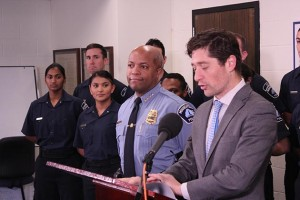 Mayor Jacob Frey announced Thursday that he would appoint Medaria Arradondo to a full three-year term as police chief. Photo by Dylan Thomas