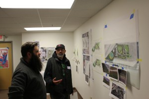 Emmanuel Ortiz, right, of Parks & Power, talks with Tyler Pederson, a design project manager with the MPRB about the future of Parade Park. Photo by Andrew Hazzard.
