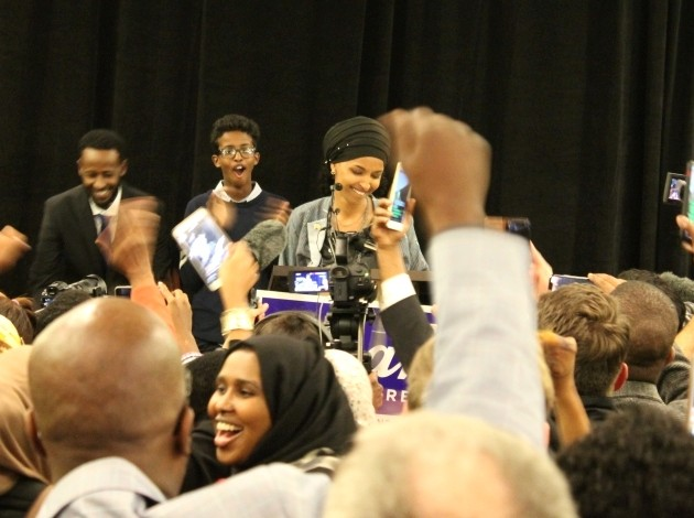 Congresswoman-elect Ilhan Omar speaks to supporters on election night.