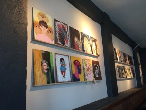 Self-portraits done by MCAD students over the years on display at Spyhouse Coffee at 25th & Nicollet. The show will run through January. Photo by Andrew Hazzard.