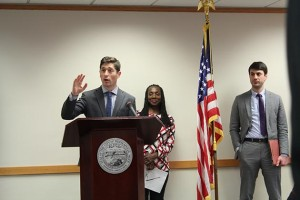 Speakers at the More Representation Minneapolis launch event included, from left, Mayor Jacob Frey, Gina Robinson and Luke Grundman, managing attorney in the Minneapolis office of Mid-Minnesota Legal Aid. Photo by Dylan Thomas