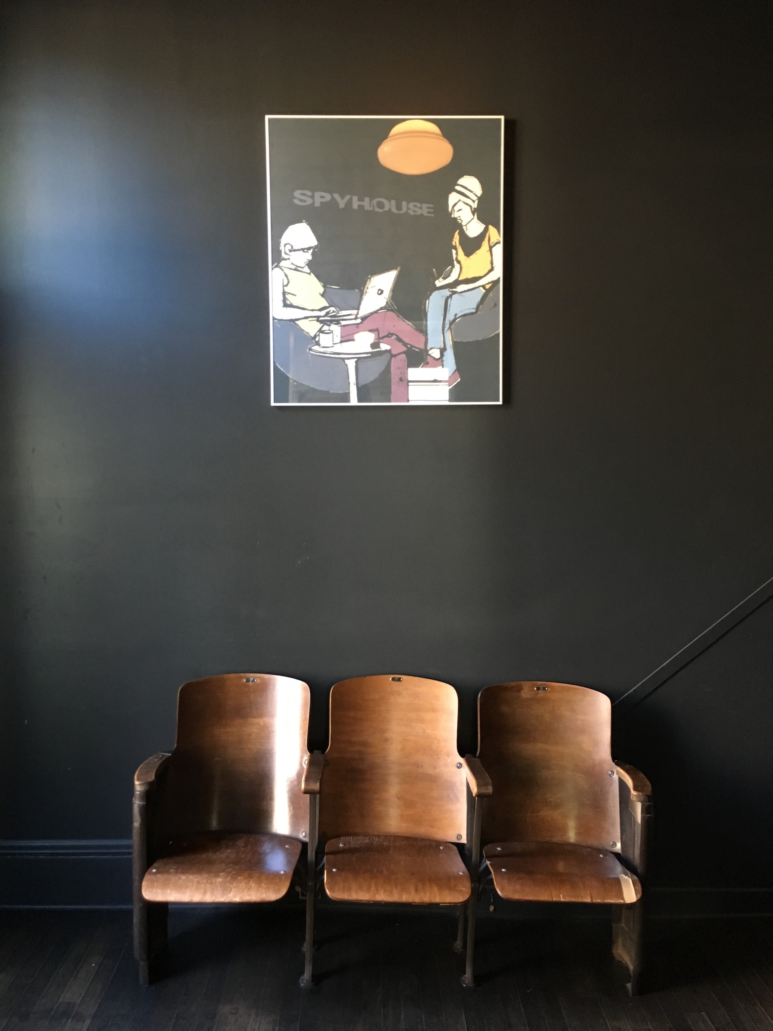 A piece done by an MCAD student for a Spyhouse assignment hangs in the Spyhouse Coffee Uptown location at 24th & Hennepin. Submitted photo.