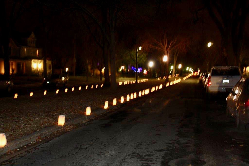 Luminaries light up King's Highway on Christmas Eve in 2017. Submitted image.