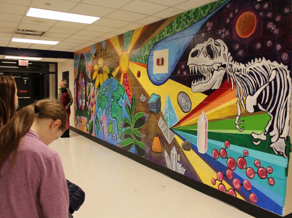 A new mural adorns a wall in Washburn High School's new science wing. Photo by Nate Gotlieb