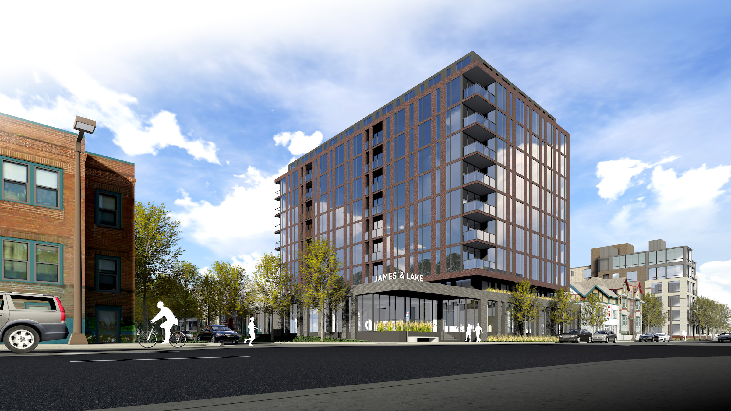 A rendering of the proposed 10-story mixed-use apartment building at Lake & James in Uptown. Submitted image.
