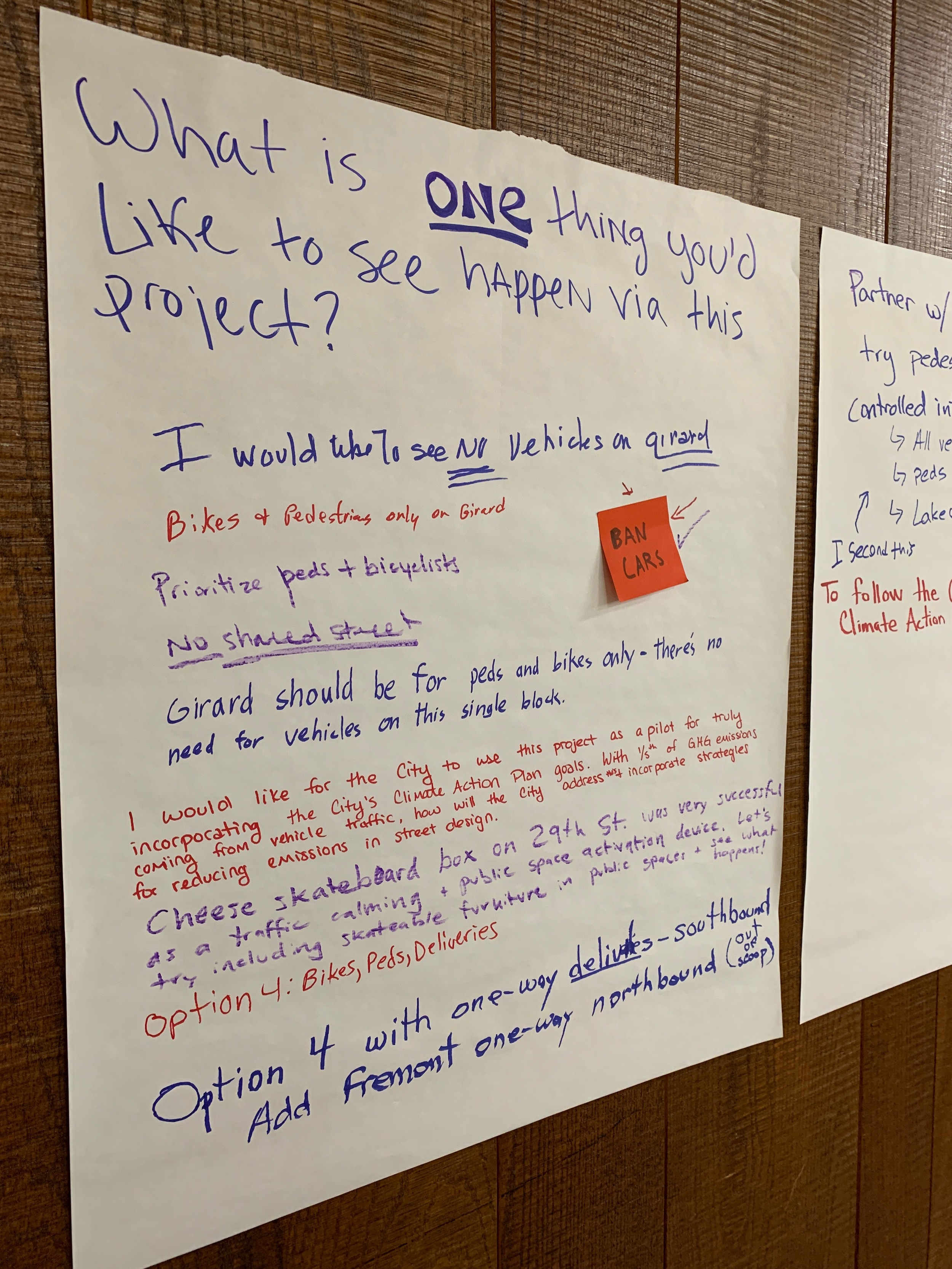 Notes to city planning staff weighing options for the redesign of a block Girard Avenue in Uptown were left by residents who attended an open house on Jan. 24. Photo by Andrew Hazzard.