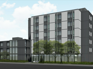 A rendering of Beacon Interfaith Housing Collaborative's planned addition to the Lydia Apartments supportive housing facility in Stevens Square. Rendering by MSR Design via City of Minneapolis