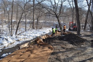 Crews working to repair Minnehaha Creek, which was damaged by record flooding in 2014.