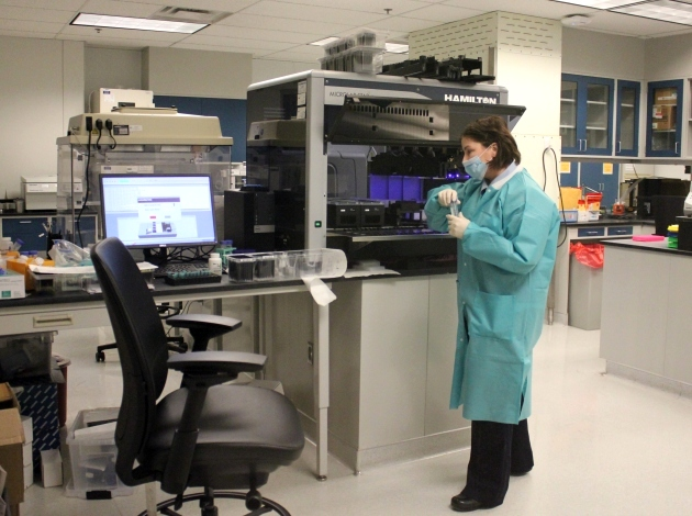 Forensic scientist Dr. Christine Clouser works at the Hennepin County Sheriff's Office crime lab.