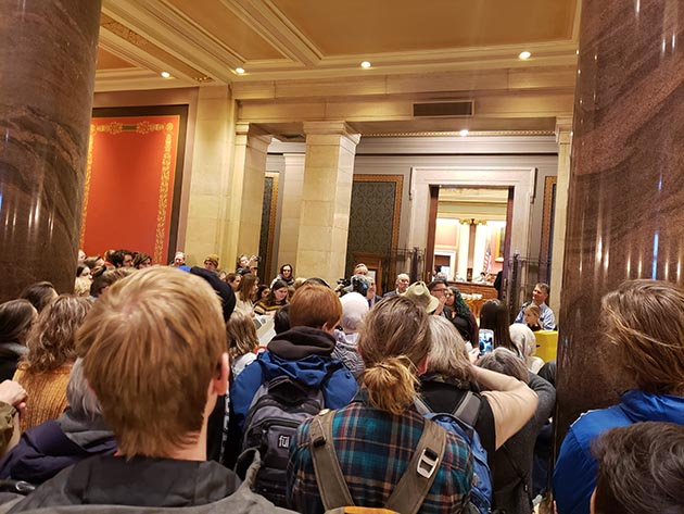The youth-led climate justice organization Minnesota Can't Wait packed the Capitol for the Feb. 11 launch of the Minnesota Green New Deal campaign. Photo by Mira Klein
